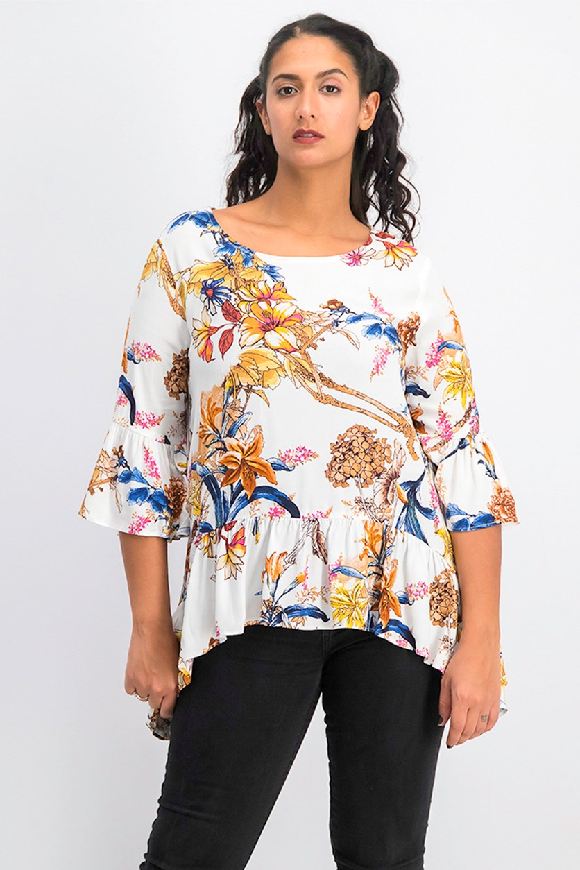 Women's Printed Ruffled Blouse, White Floral
