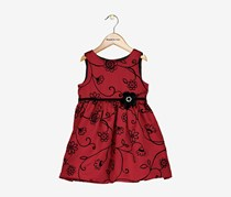 Toddler Girls Satin Flocked Dress, Burgundy