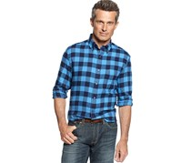 John Ashford Long Sleeve Buffalo Check Flannel Shirt, Ocean Wave