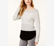 Charter Club Women's Cashmere Colorblocked Sweater, Ice Grey Heather