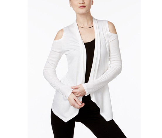 Inc Women's Off-The-Shoulder Cardigan, White