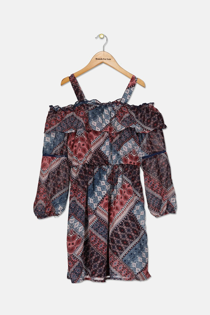 Printed Ruffled Cold-Shoulder Dress, Navy/Maroon
