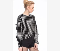 Bershka Women's Striped Long Sleeve Shirt, Black/White