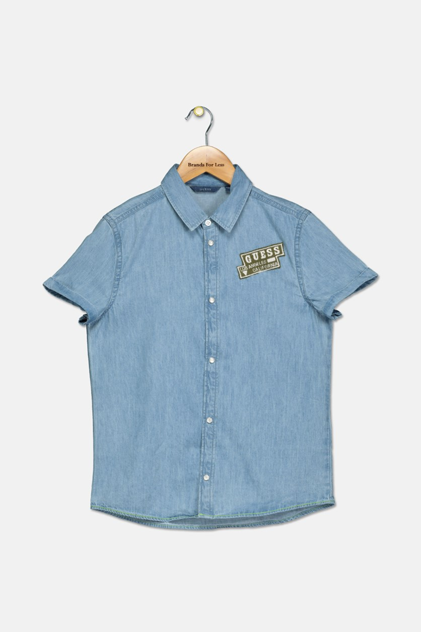 Kids Boys Denim Patch Shirts, Blue