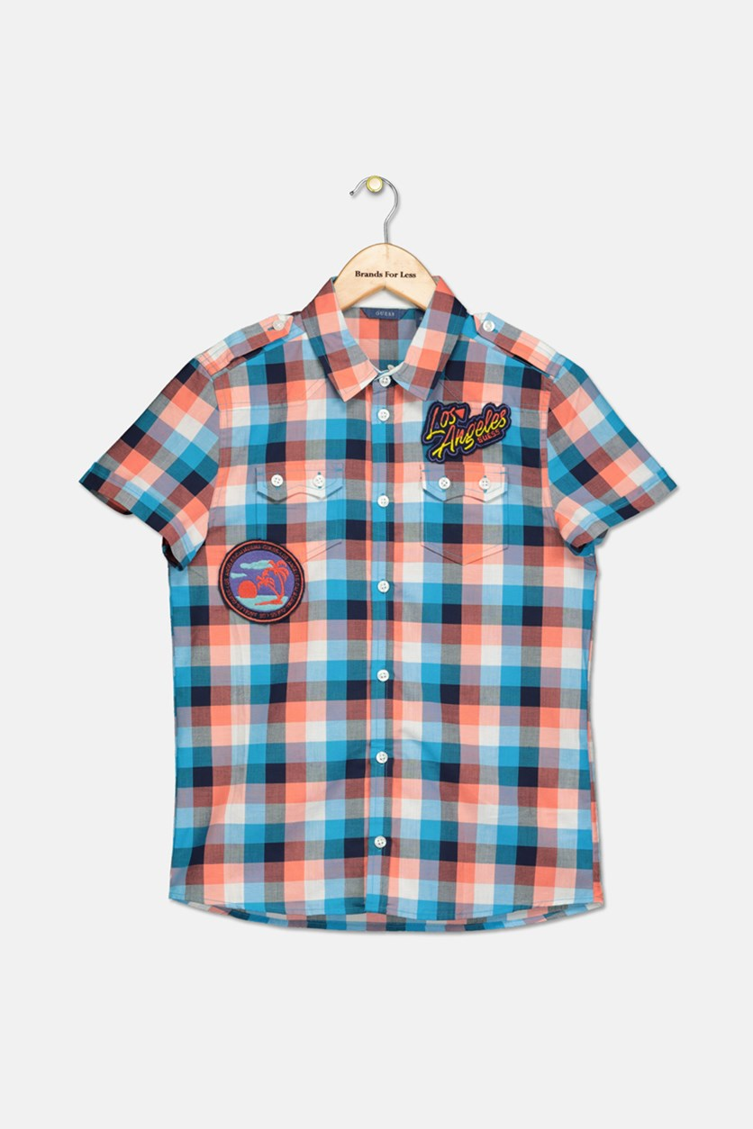Kids Boys Plaid Patches Shirts, Orange/Blue