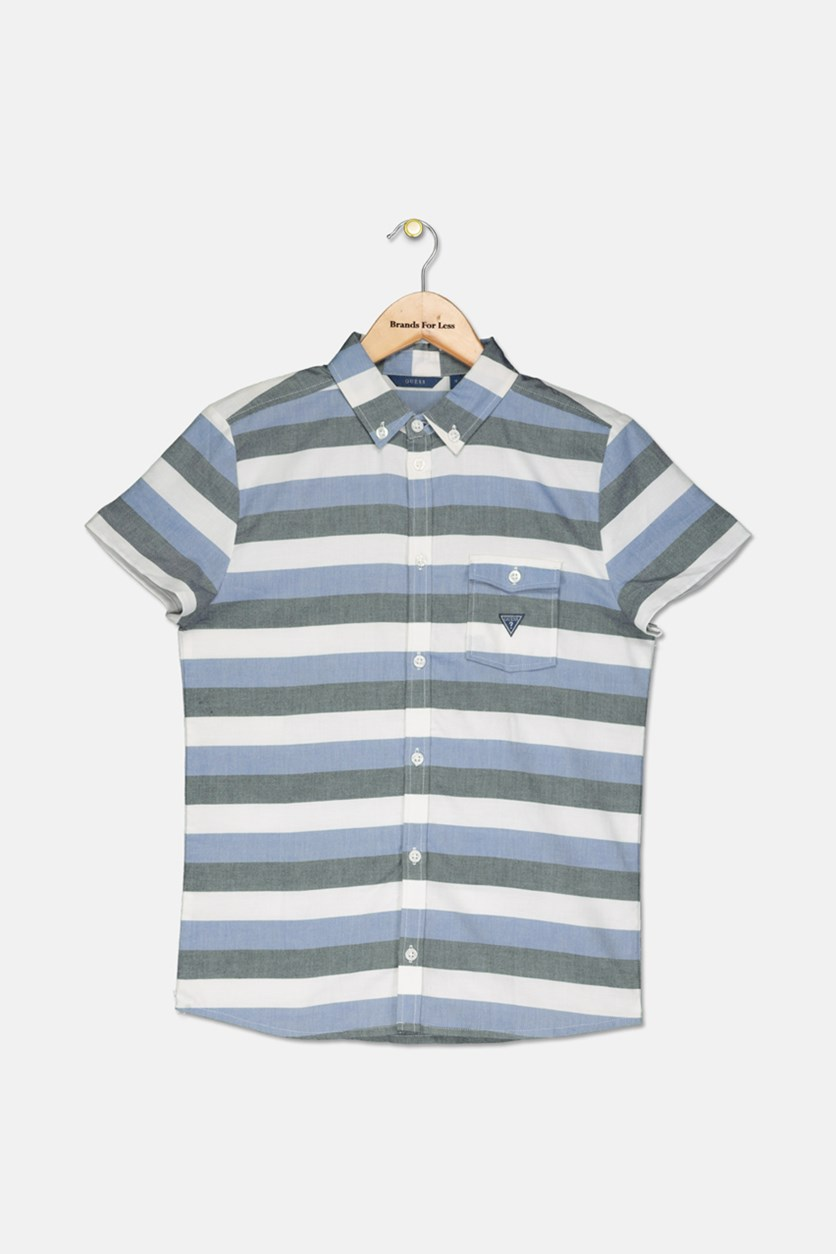 Kids Boys Stripe Button Down Shirts, Blue/Gray