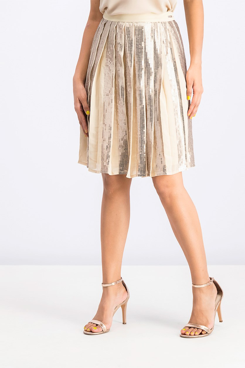 Women's Sequined Pleated Iris Skirt, Beige