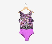 Guess Women's Abstract High Neck One Piece Swimsuit, Purple Combo