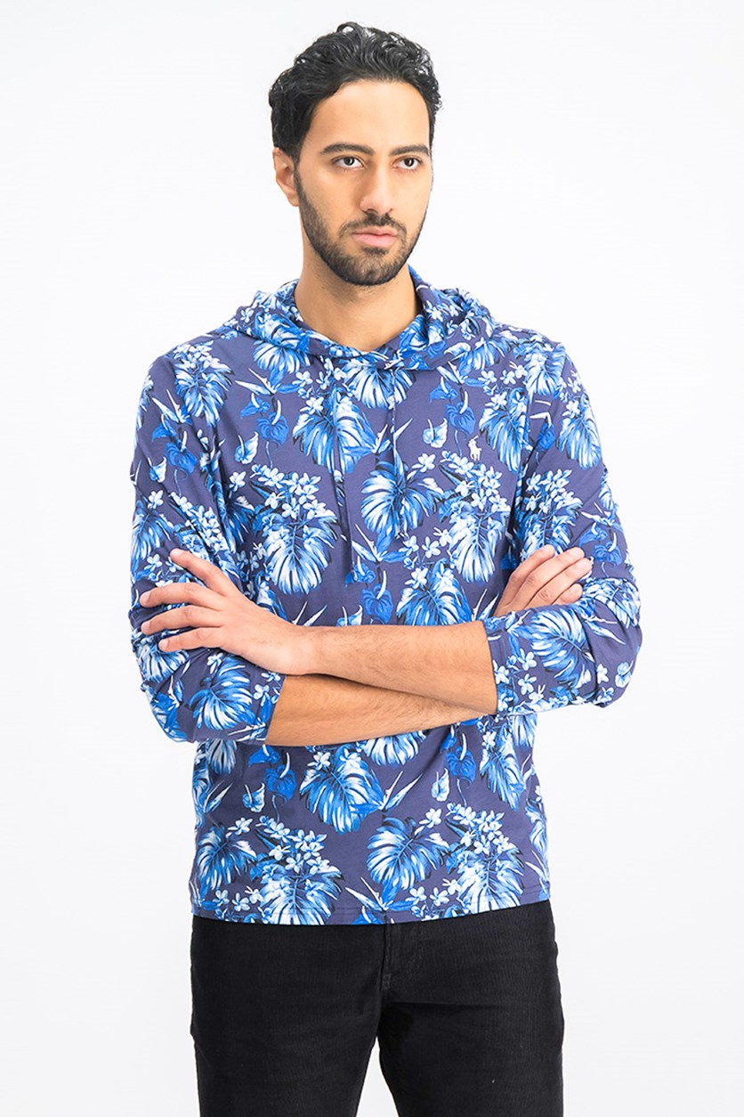 Men's Floral-Print Hooded Long-Sleeve T-Shirt, Blue