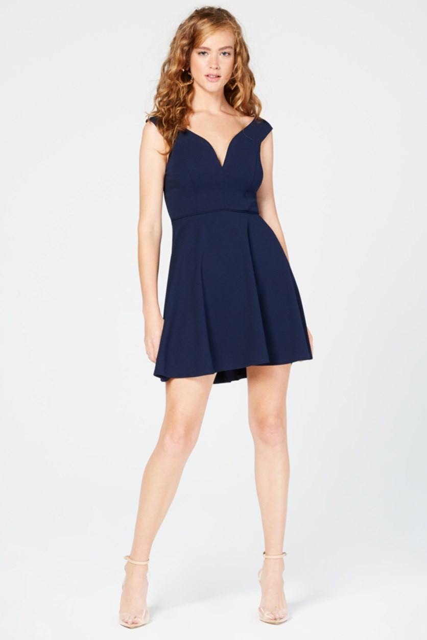 Juniors' Off-The-Shoulder Fit & Flare Dress, Navy