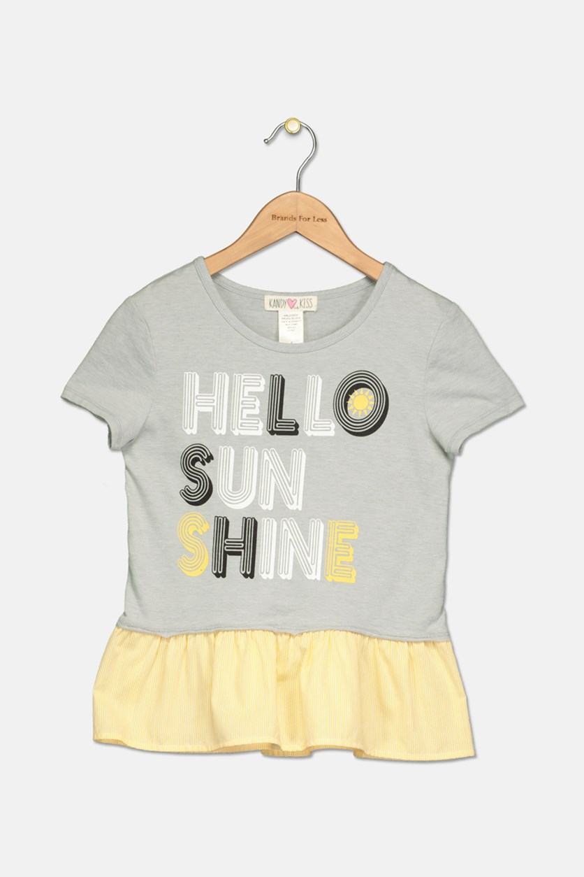 Girl's Hello Sunshine Ruffle T-Shirt, Gray/Yellow