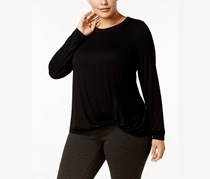 Ideology Plus Size Super-Soft Knotted Top, Black
