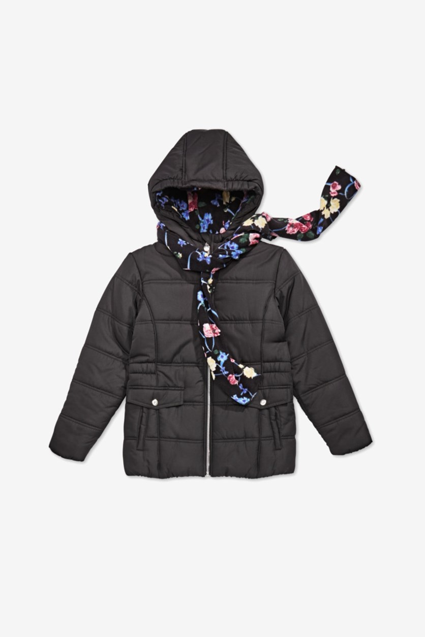 Girls Hooded Puffer Jacket with Scarf, Black