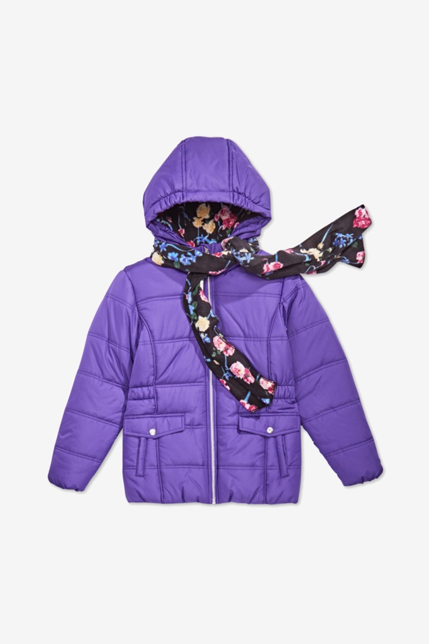 Girls Hooded Puffer Jacket with Scarf, Purple