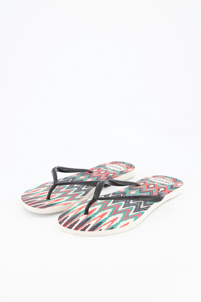 Slim Tribal Flip Flops, White/Black/Pink/Green