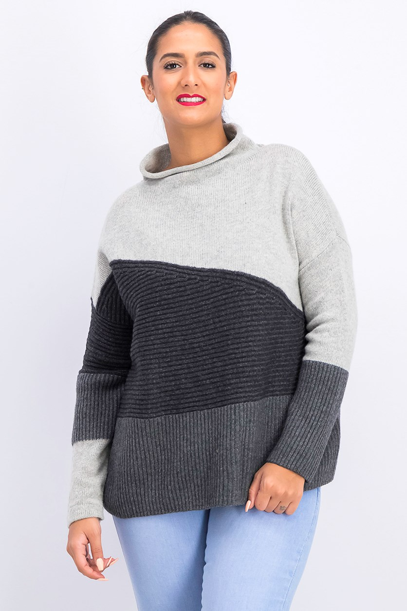 Women's Colorblock Sweater, Gray