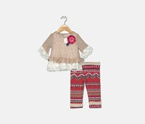 Toddler Girls 2-Pc. Ruffle Tunic & Striped Leggings Set, Taupe