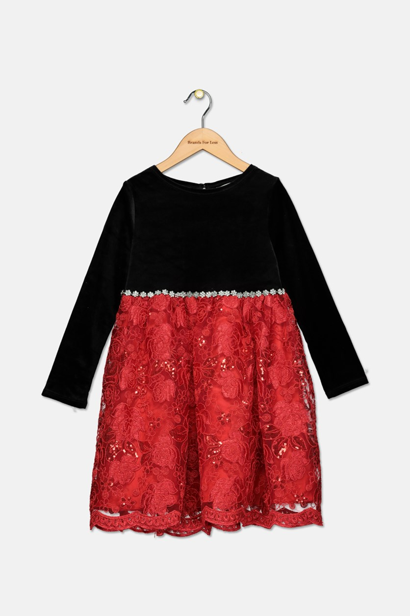 Kids Girls Velvet Sequin Embroidered Dress, Red/Black