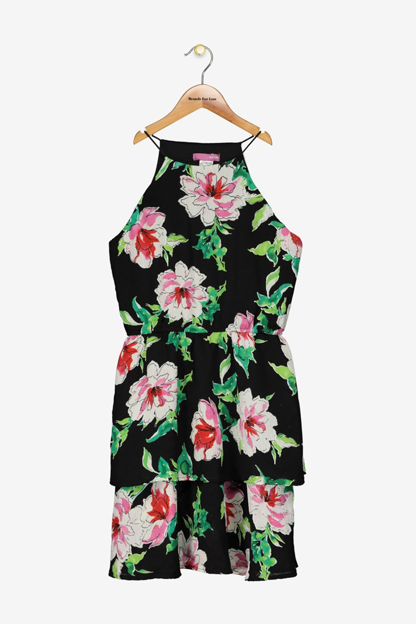 Girls' Floral Tiered Dress, Black