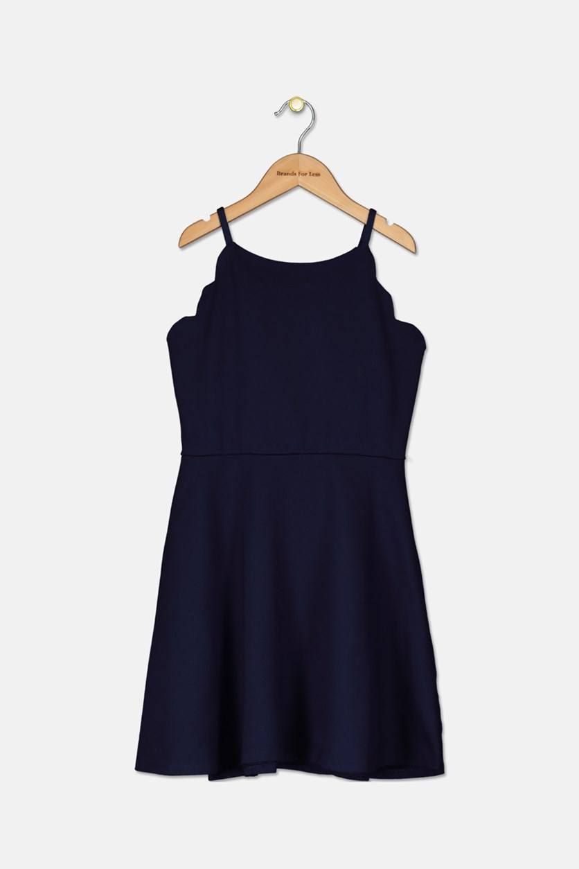 Big Kid Girls' Scalloped Skater Dress, Navy