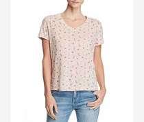 Honey Punch Women's Floral Print V-Neck Graphic T-Shirt, Pink