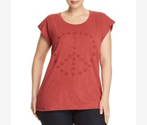 Lucky Brand Women's Plus Peace Sign Embroidered T-Shirt, Maroon