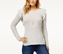 Lucky Brand Women's Ribbed Ruffle Top, Heather Gray