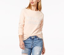 Bow & Drape Women's Bunched Sequined Graphic Sweatshirt, Blush