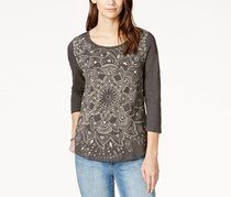 Lucky Brand Women's Three-Quarter-Sleeve Printed, Black