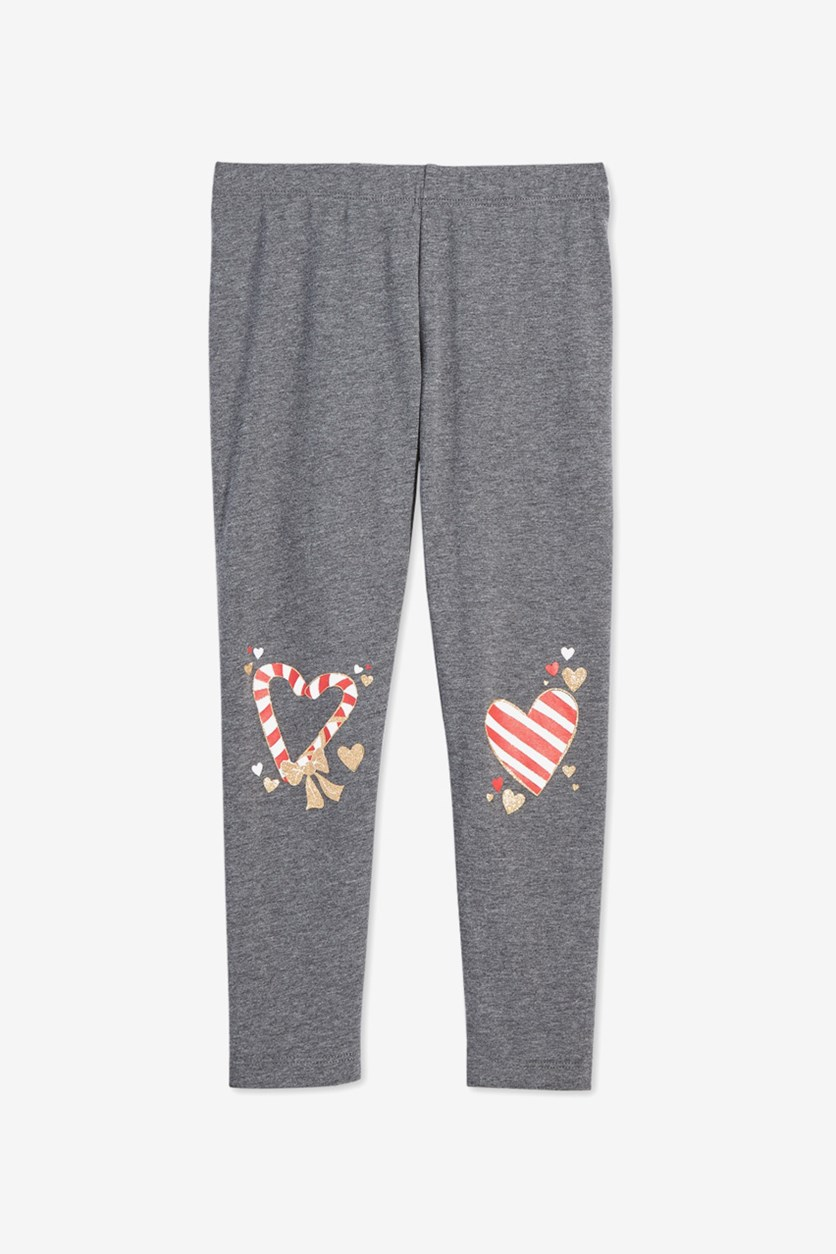 Toddlers Girls Leggings, Charcoal Heather