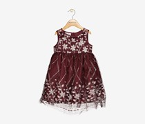 Toddlers Boulevard Glitter-Pattern Mesh Dress, Burgundy
