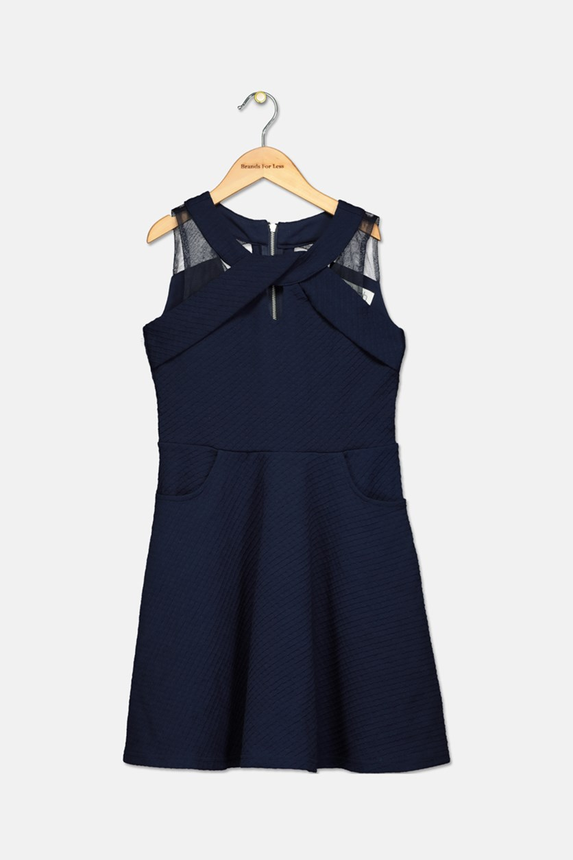 Girls Sleeveless Knit Dress With Pockets Dress, Navy Blue