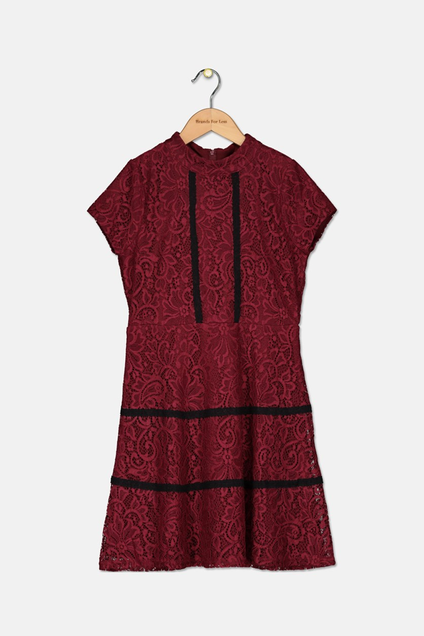 Girls Cap-Sleeve Lace Dress, Burgundy