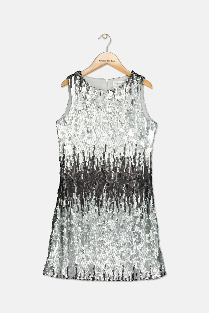 Big Girls Ombre Sequin Dress, Silver