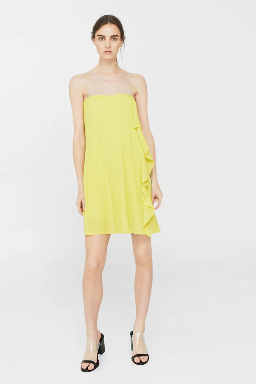 Women's Pleated Dress With  A Ruffle, Lime