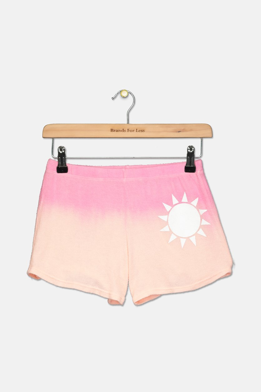 Girls' Dip-Dyed Sun Shorts, Pink/Peach