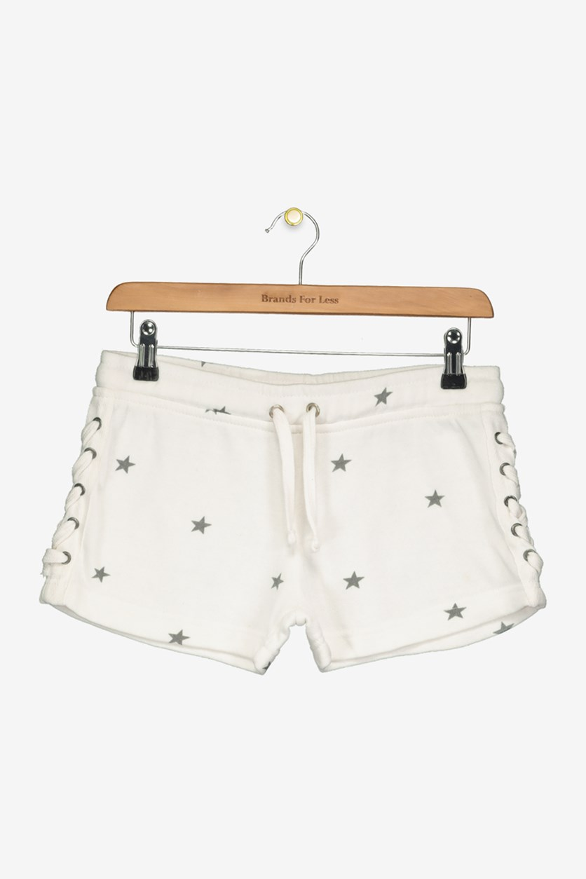 Girls' Star-Print Lace-Up Shorts, Ivory/Grey