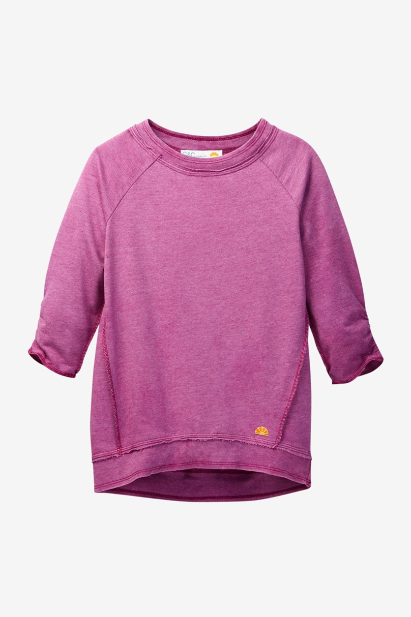 Girl's French Terry Top, Rasberry