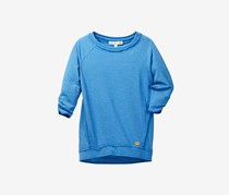 Kids Girls French Terry Top, Sea Blue
