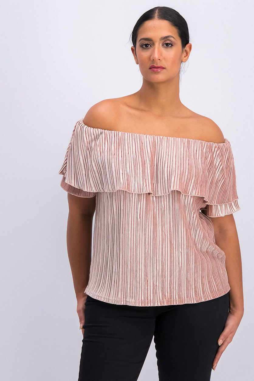 Celeste Velvet Off-The-Shoulder Top, Celestial Rose