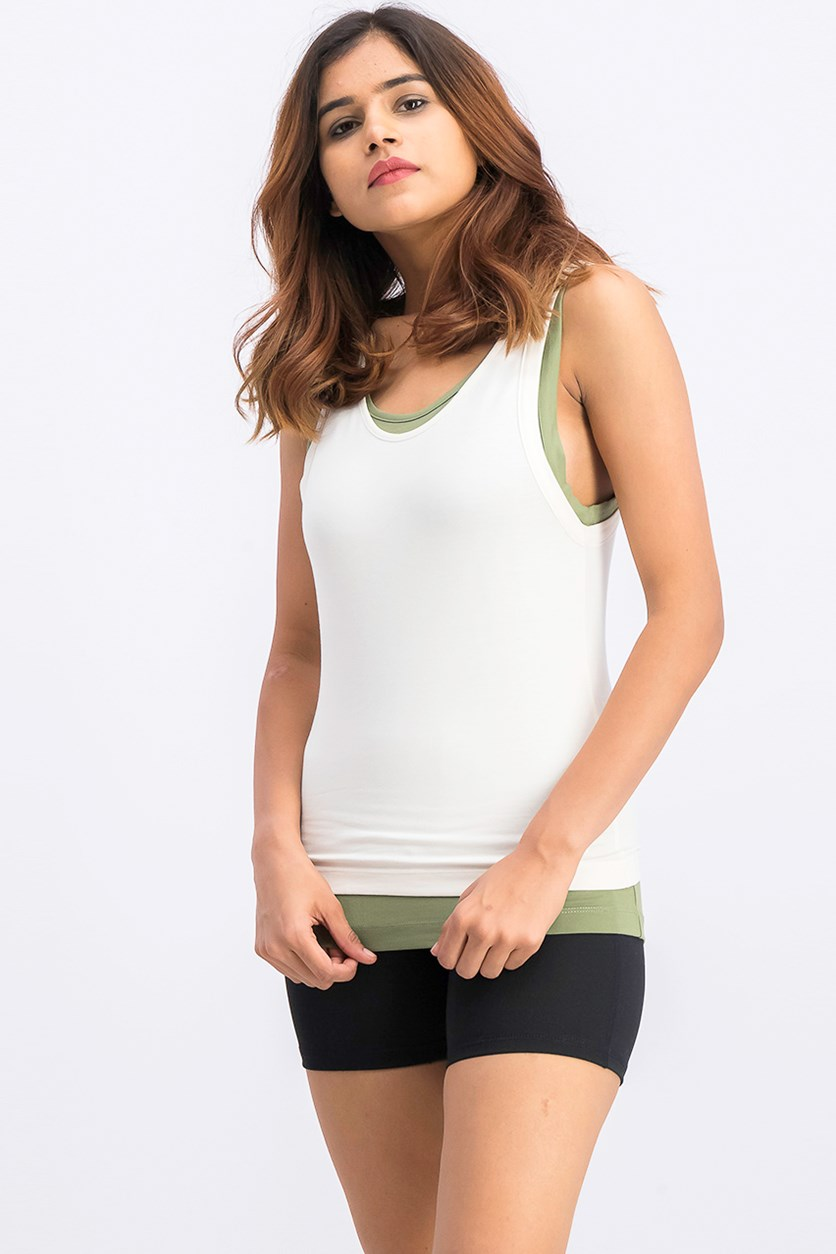 Women's Pullover Tank, Ivory/Olive
