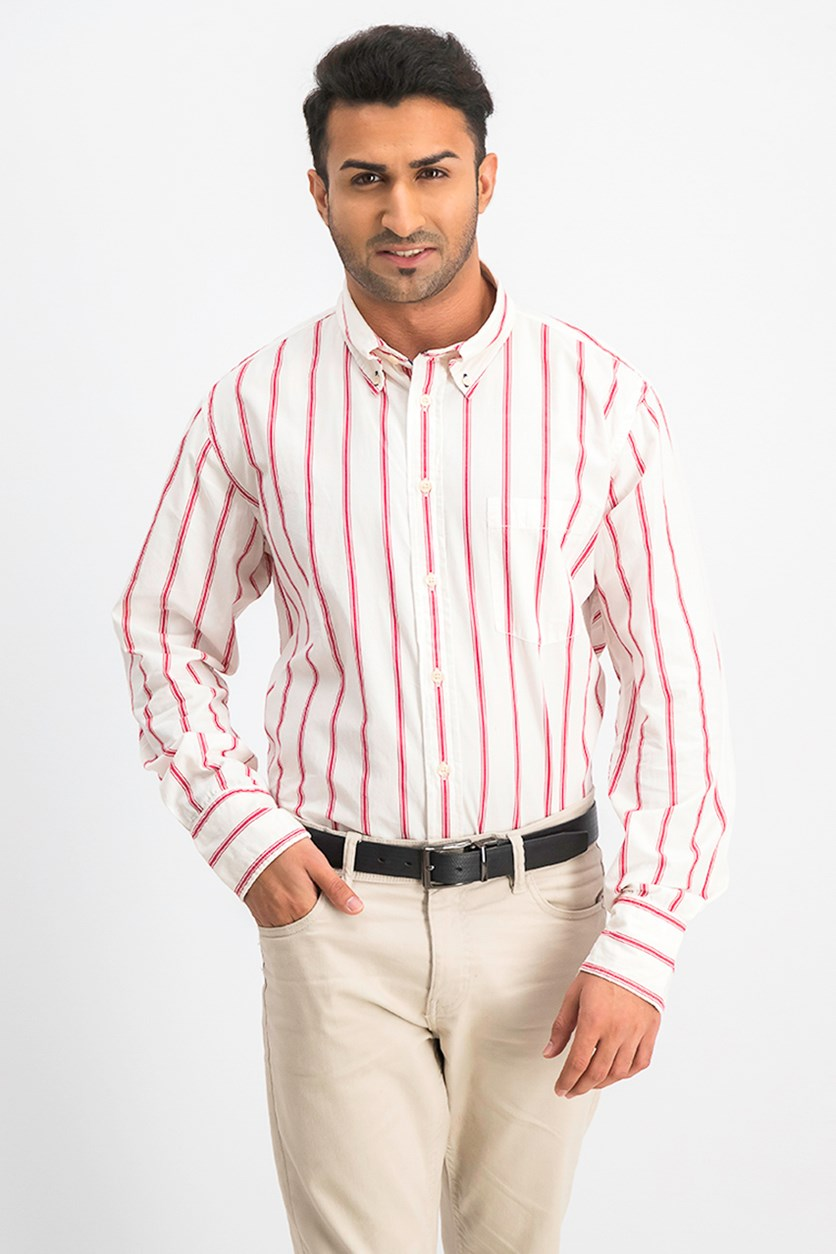 Men's Long Sleeve Striped Casual Shirt, Red/Ivory