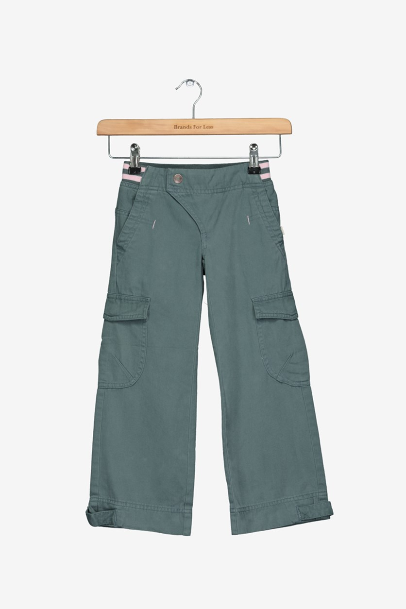 Kids Girls Cargo Pants, Dark Green