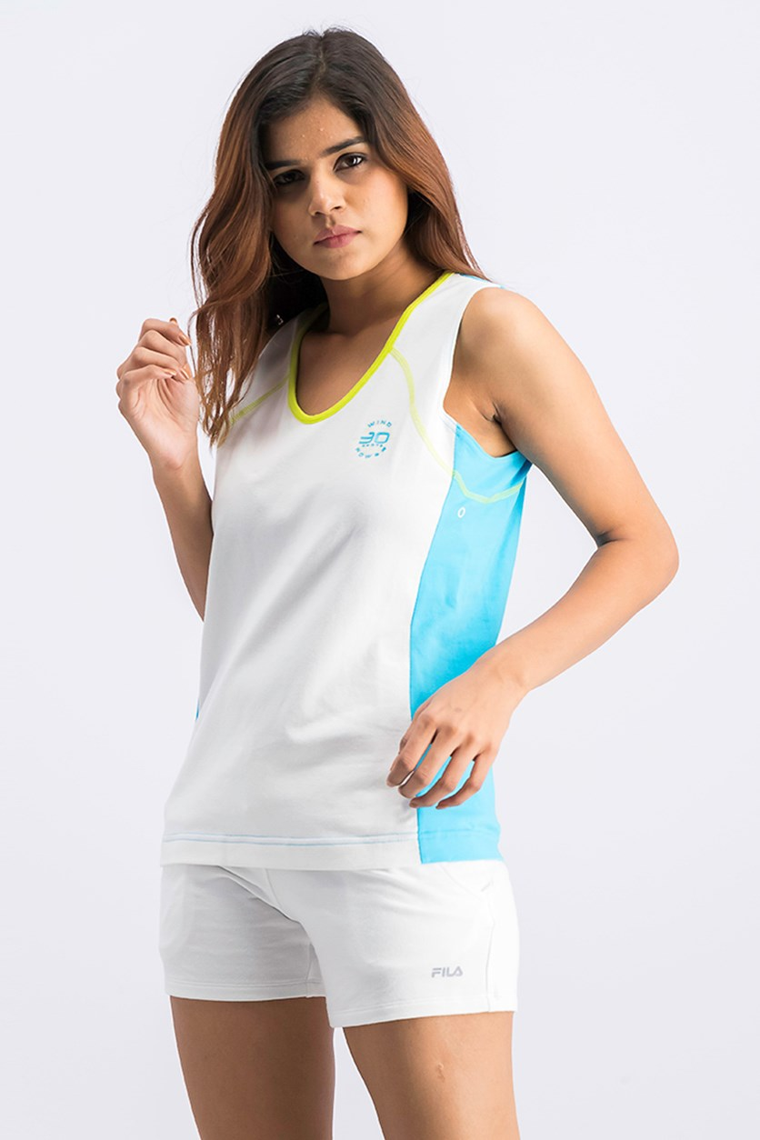 Women's Wind knots Power Tank, White/Blue