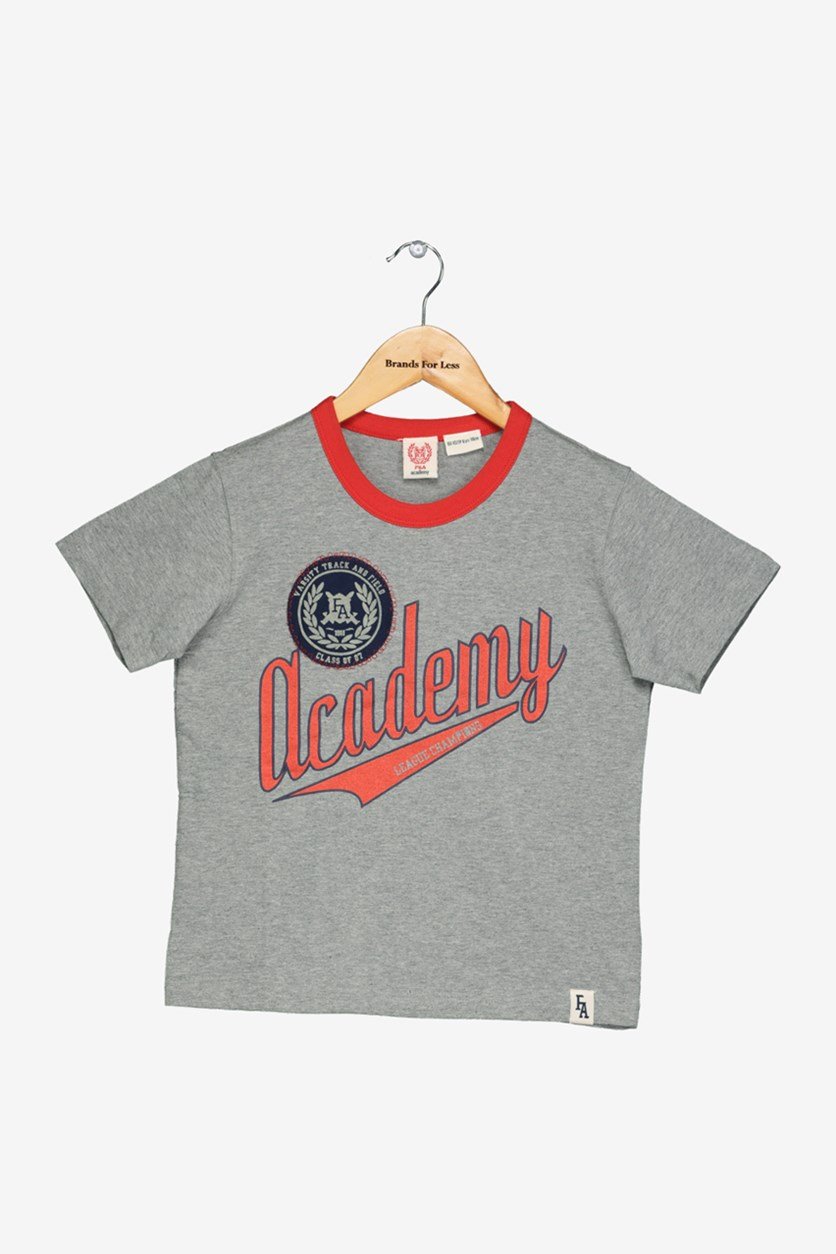 Academy Boy's Graphic Print T-Shirt, Grey Heather