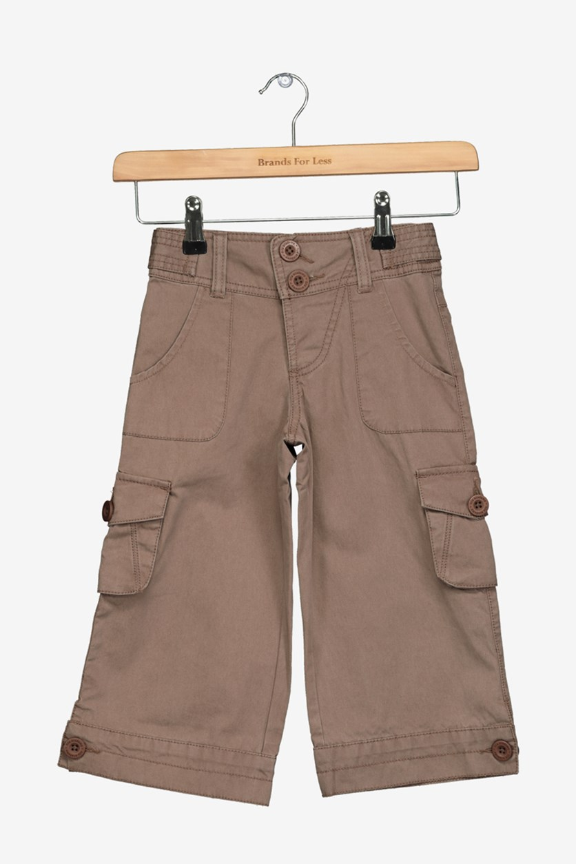 Little Girls Cargo Pants, Brown