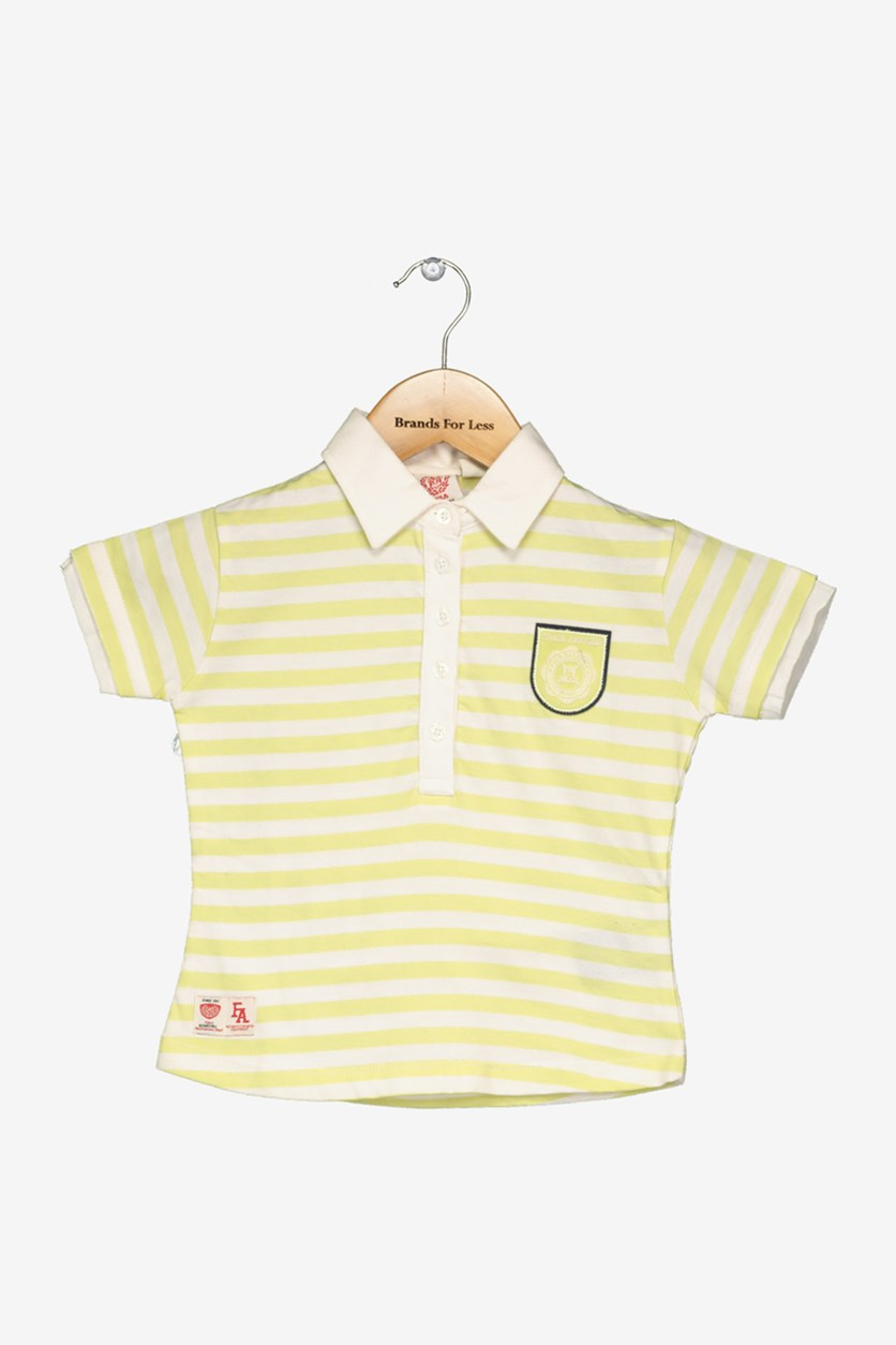 Academy Little Girl's Striped Print Tee, Yellow Green