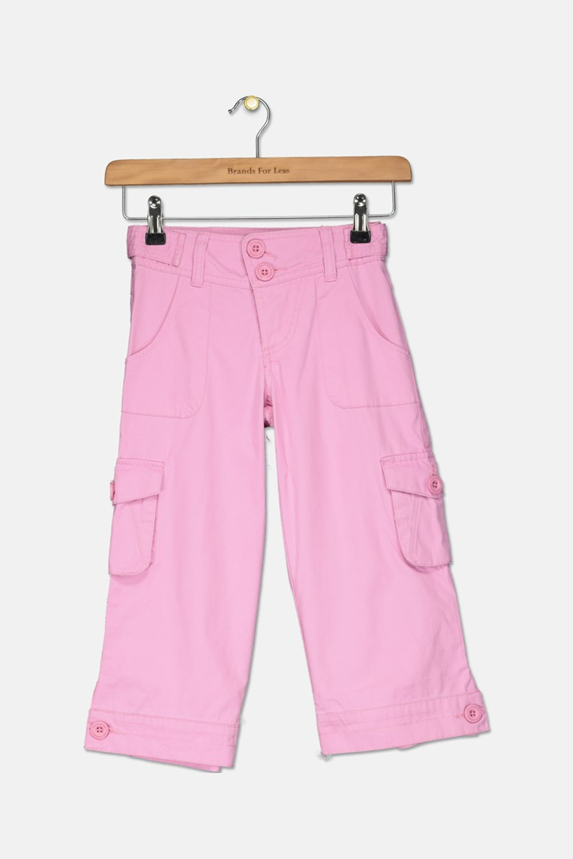 Girls Cargo Pants, Med Pink