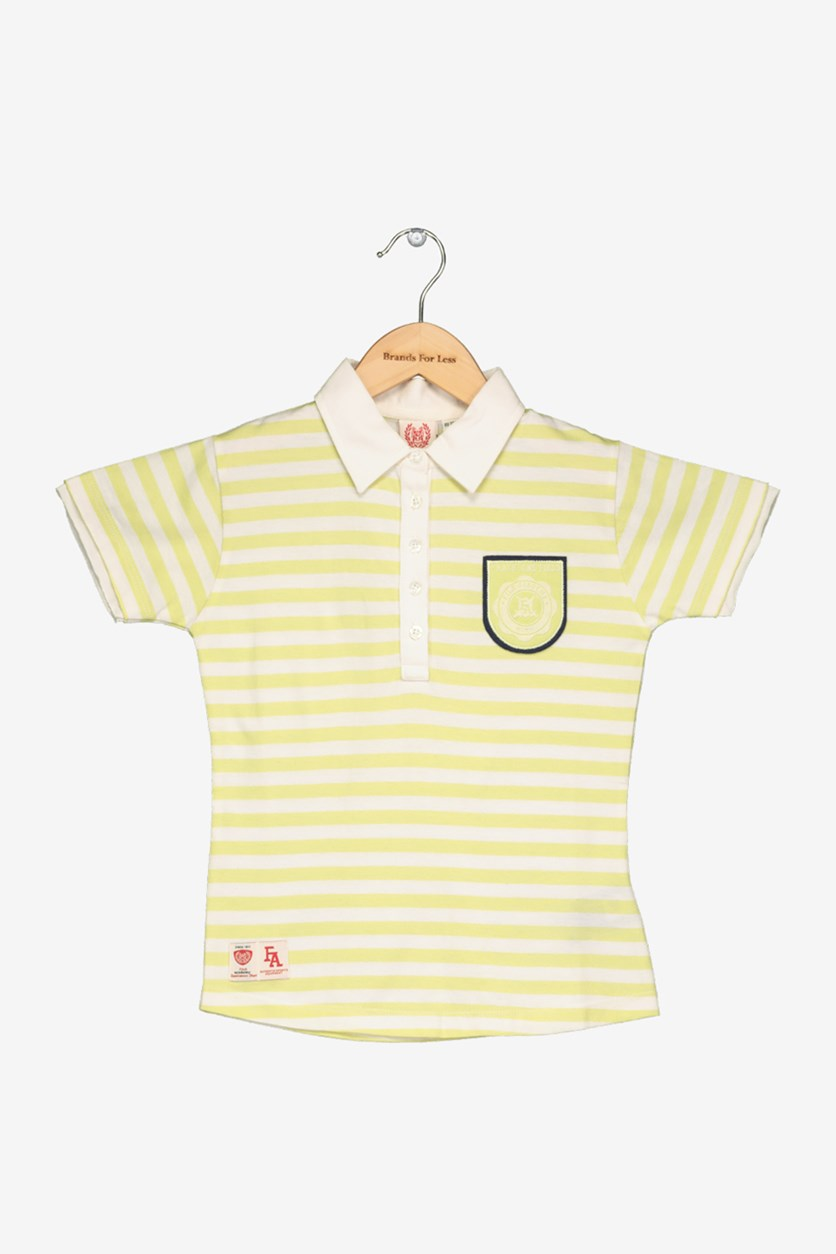 Academy Girl's Striped Print Tee, Yellow Green