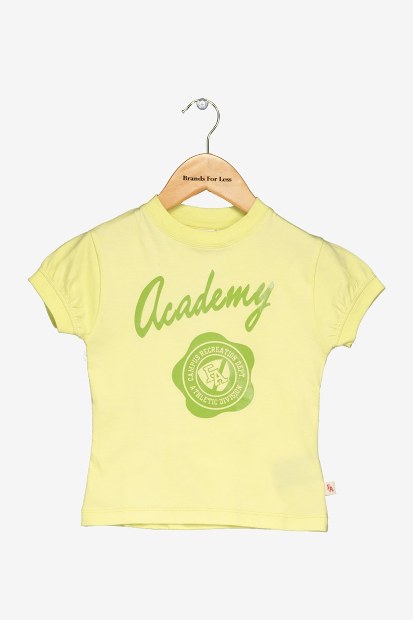 Academy Little Girl's Graphic Print Tee, Yellow Green
